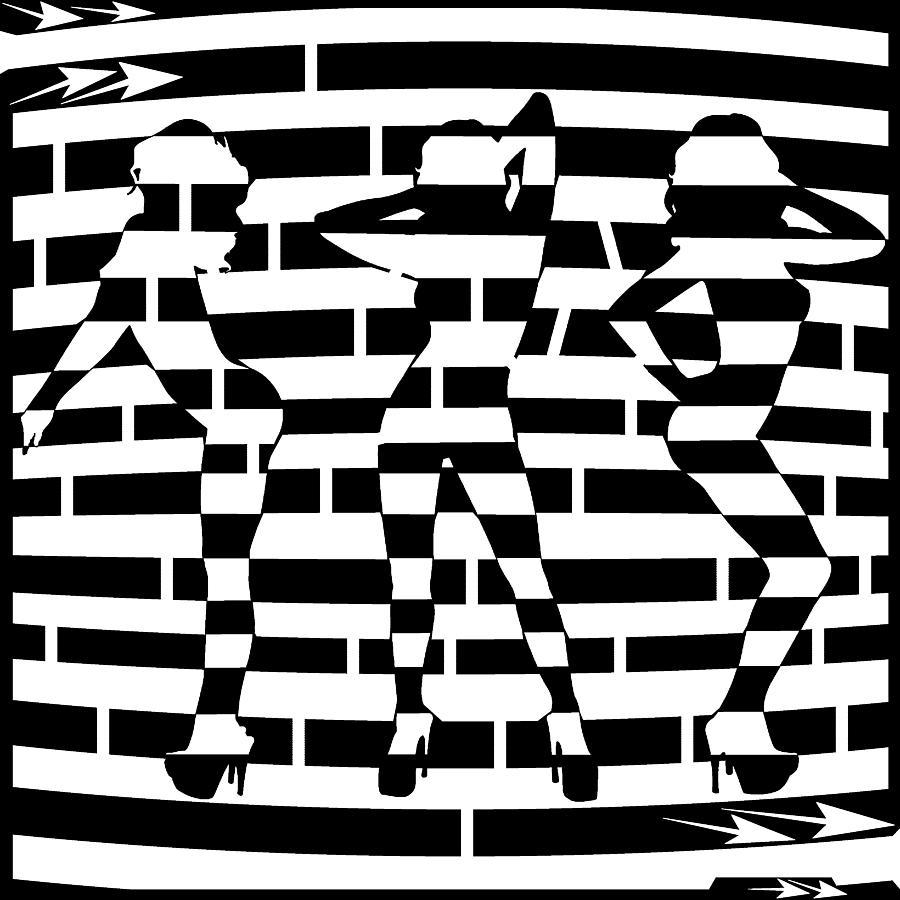 Dance Drawing - Abstract Distortion Dancin Girls Maze  by Yonatan Frimer Maze Artist