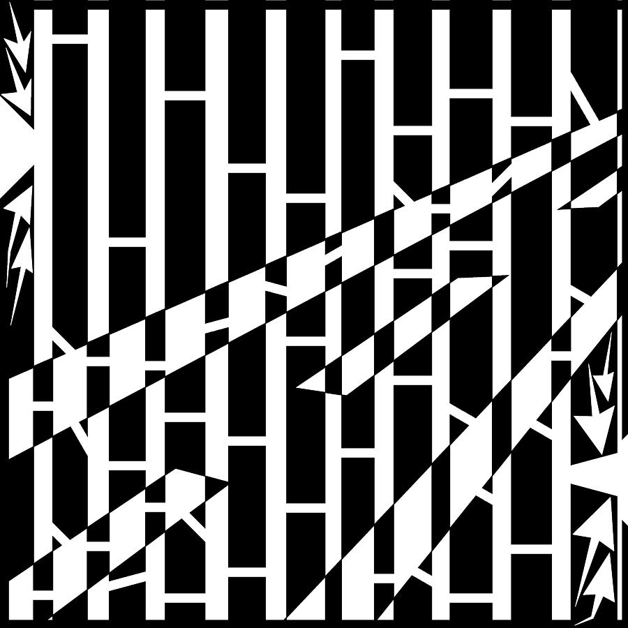 Abstract Drawing - Abstract Distortion Driving Road Maze  by Yonatan Frimer Maze Artist