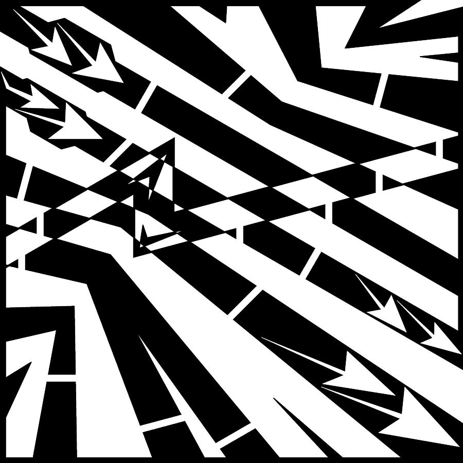 Fule Drawing - Abstract Distortion Fuel Line Maze by Yonatan Frimer Maze Artist