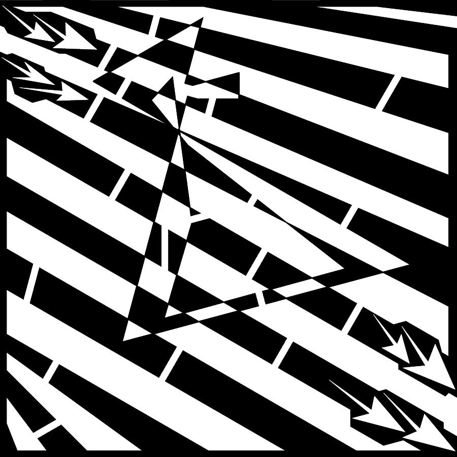 Hour Drawing - Abstract Distortion Hour-glass Maze  by Yonatan Frimer Maze Artist