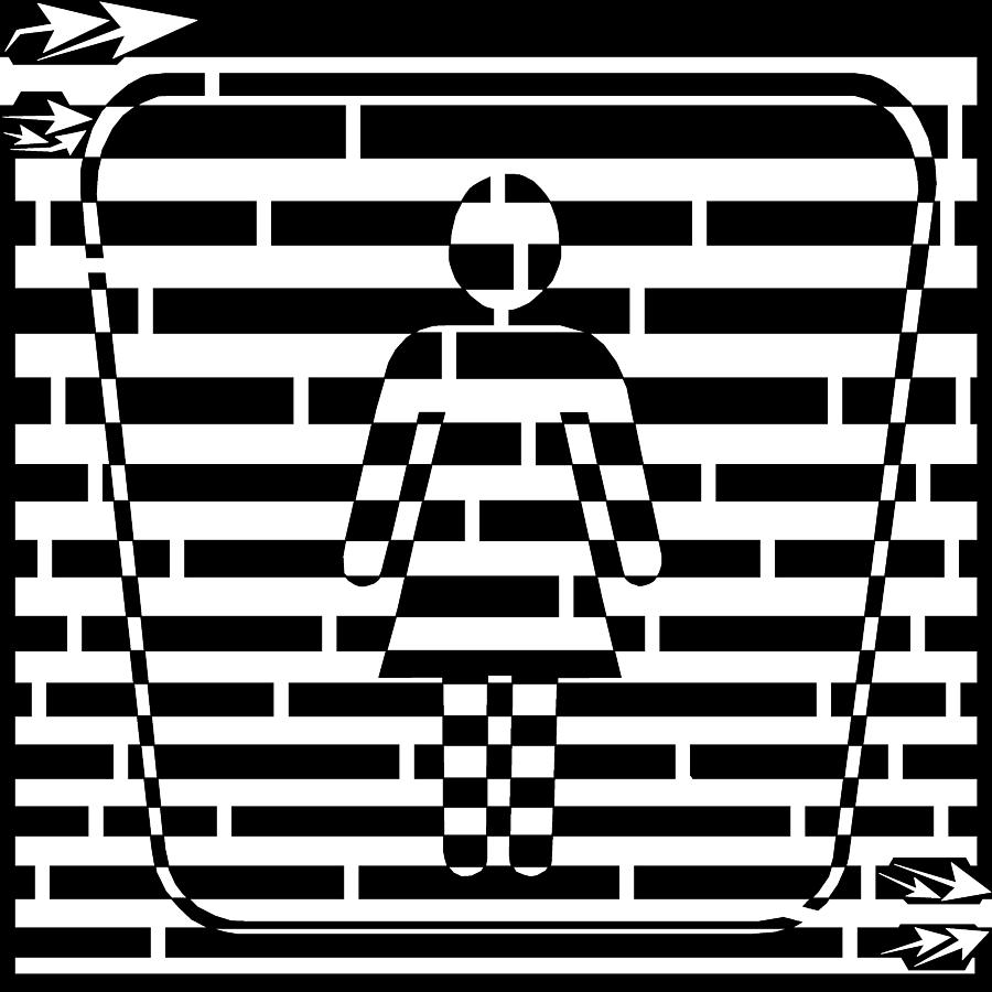 Sign Drawing - Abstract Distortion Ladies Room Sign Maze by Yonatan Frimer Maze Artist