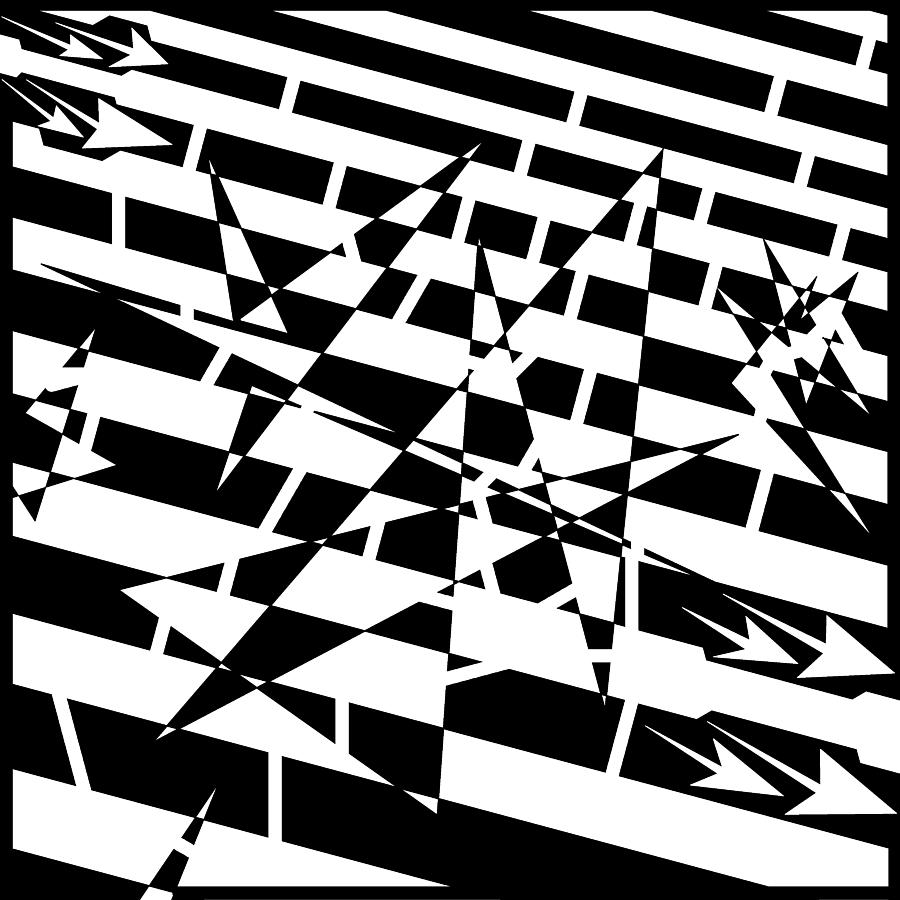 Abstract Drawing - Abstract Distortion Of Weakly Interactive Massive Particles Maze  by Yonatan Frimer Maze Artist