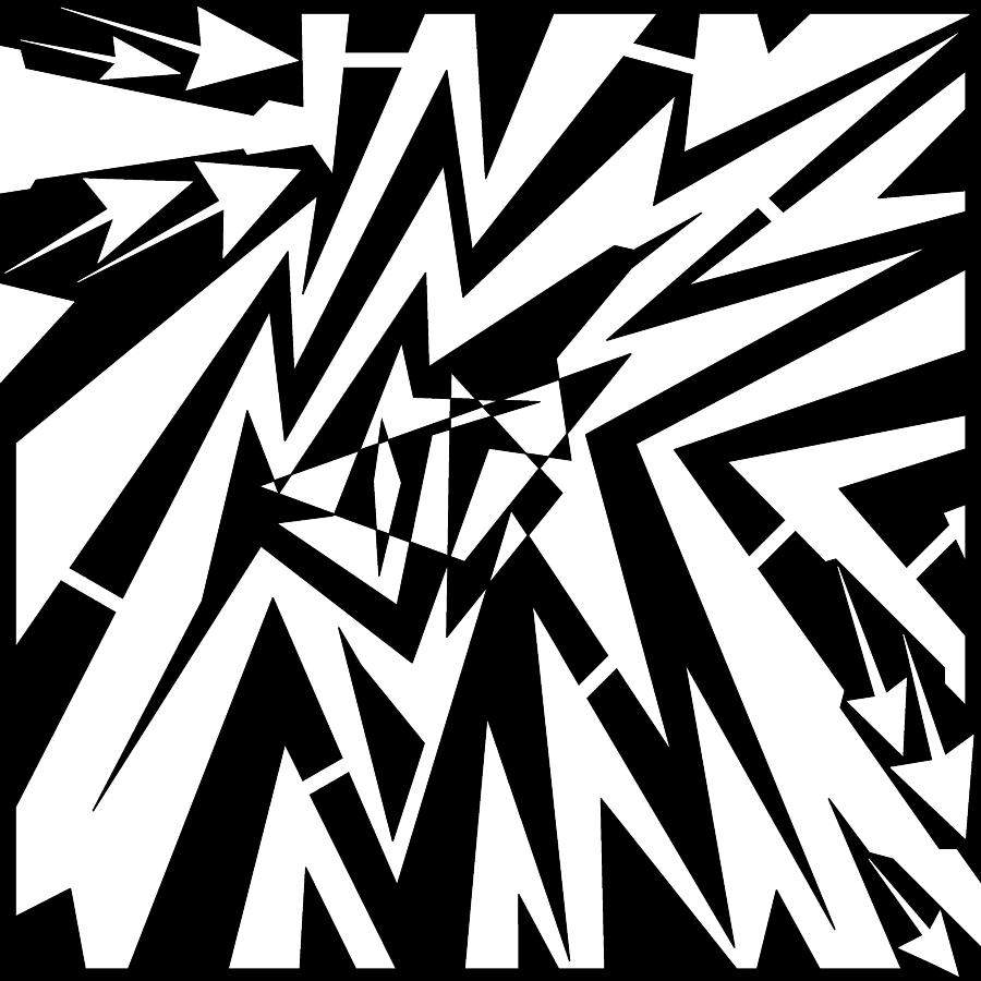 Abstract Drawing - Abstract Distortion Tear In Time Space Maze  by Yonatan Frimer Maze Artist