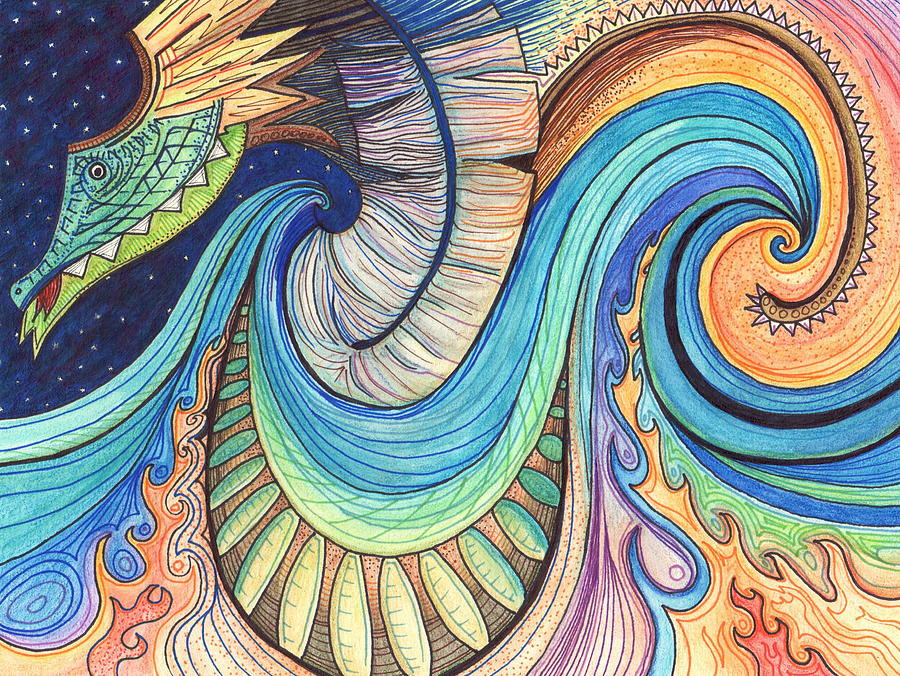 Dragon Drawing - Abstract Dragon by Kate Fortin