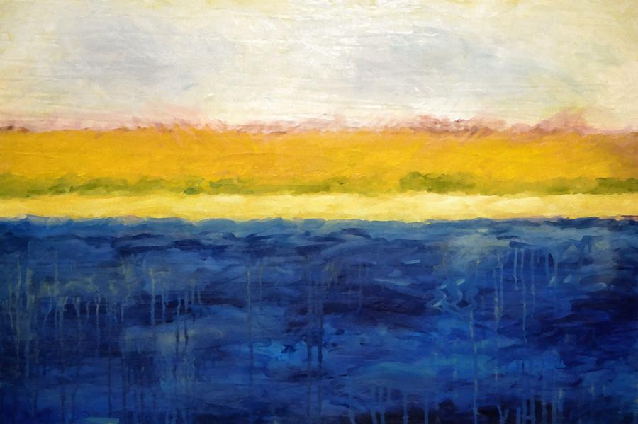 Abstract Dunes With Blue And Gold Painting By Michelle Calkins