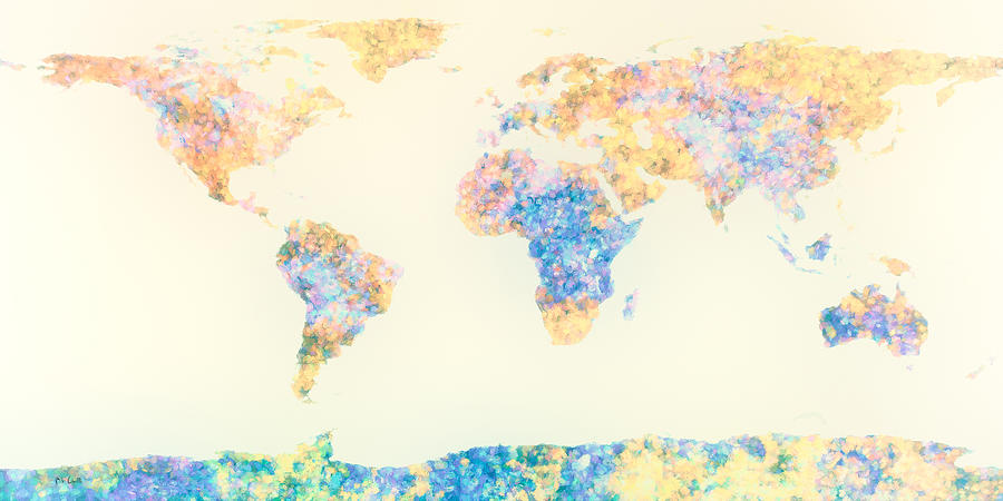 Earth Digital Art - Abstract Earth Map 2 by Bob Orsillo