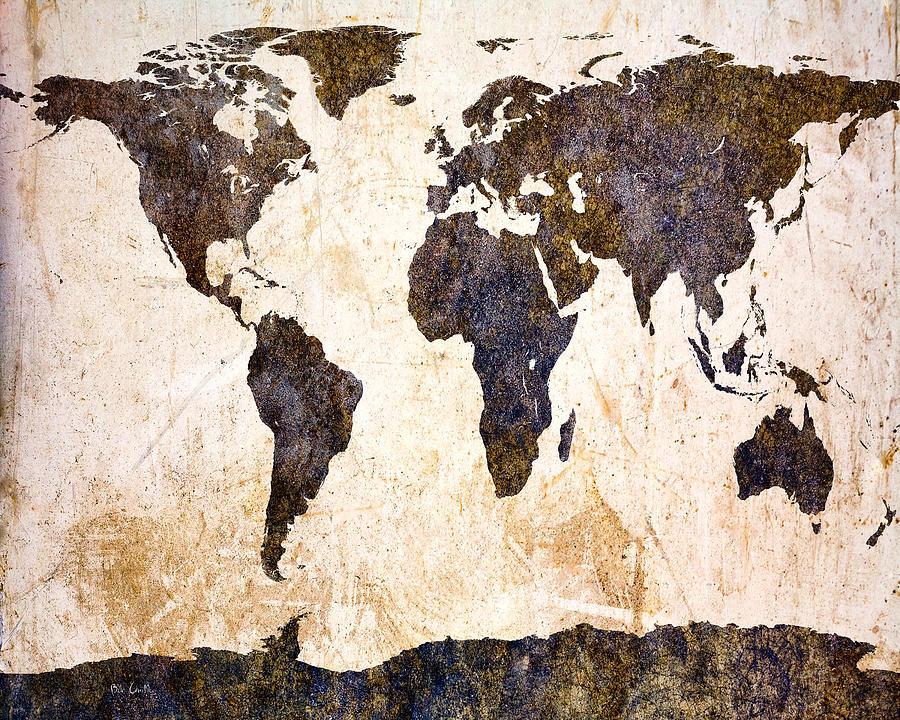 Map Digital Art - Abstract Earth Map by Bob Orsillo