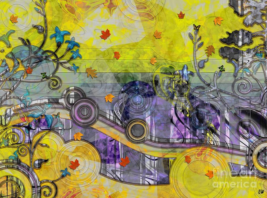 Abstract Mixed Media - Abstract - Falling Leaves by Liane Wright