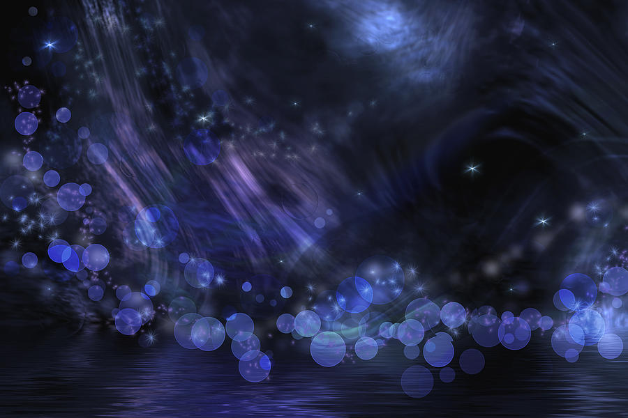 Blue Digital Art - Abstract Fantasy In Black And Blue by Nika Lerman