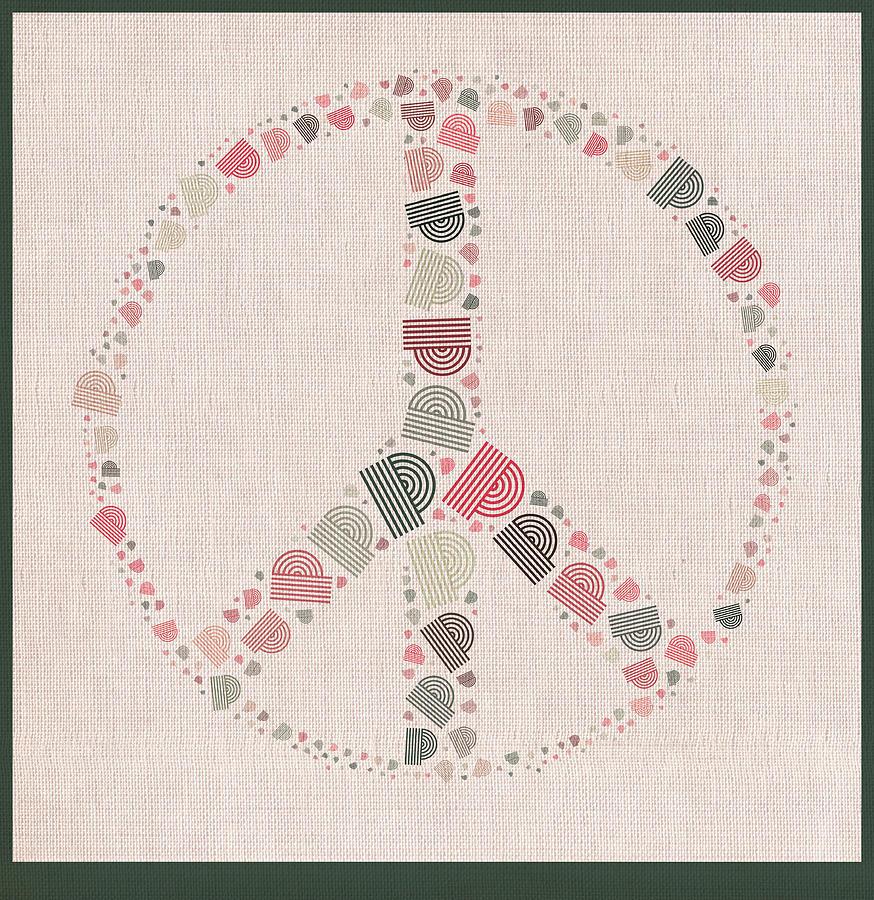 Beige Digital Art - Peace Symbol Design - S77bt01 by Variance Collections