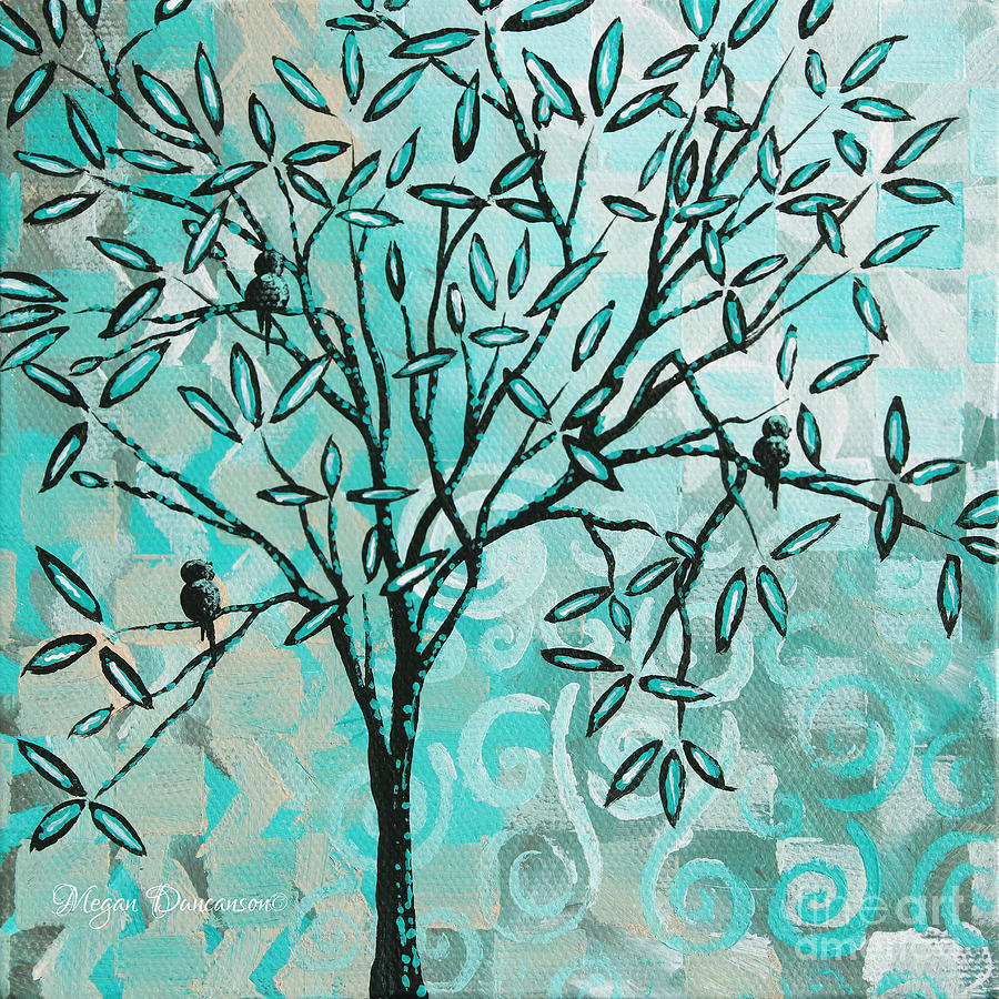 Contemporary Painting - Abstract Floral Birds Landscape Painting Bird Haven II By Megan Duncanson by Megan Duncanson