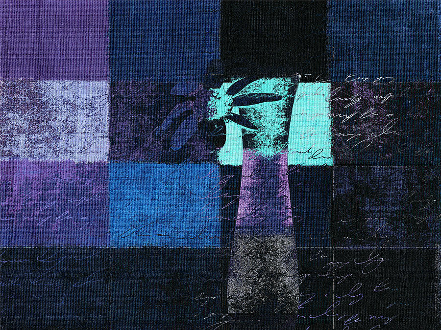 Blue Digital Art - Abstract Floral - H15bt3 by Variance Collections