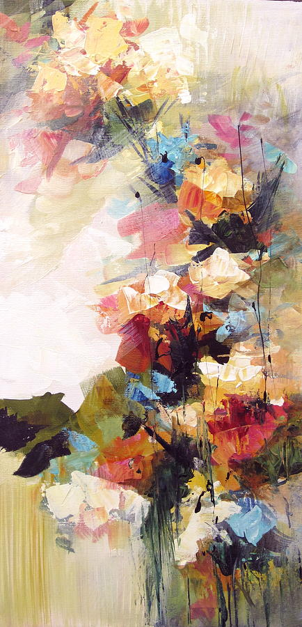 Abstract Floral Painting By Karen Hale