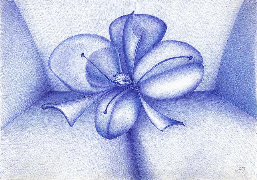 Blue Drawing - Abstract Flower by Art by Dumec