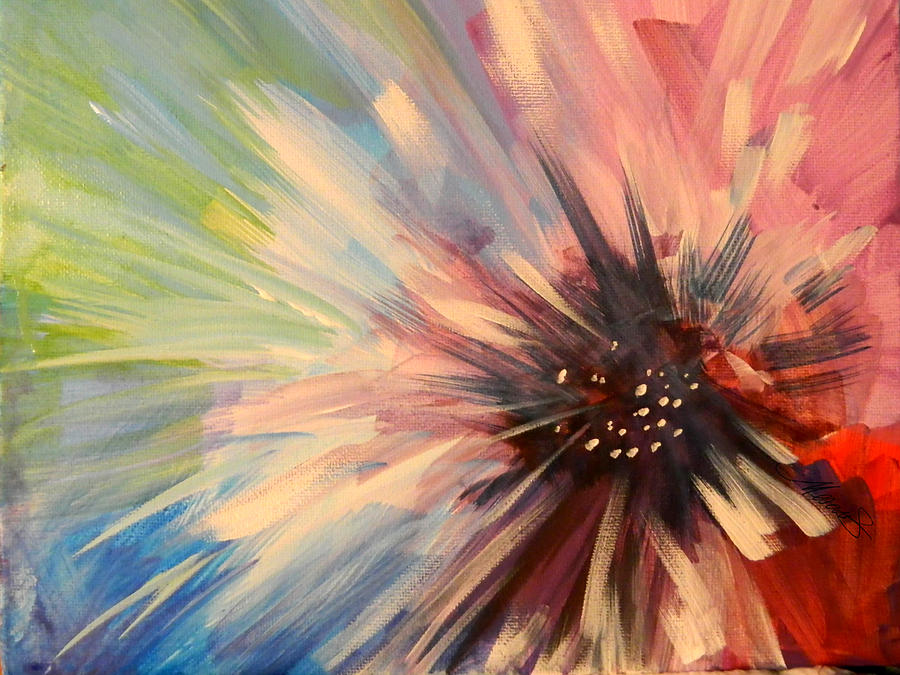 Pretty pinks painting by karen mesaros for Pretty abstract paintings
