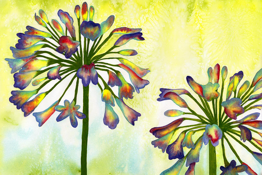 Bright Colorful Painting - Abstract Flowers by Diane Ferron
