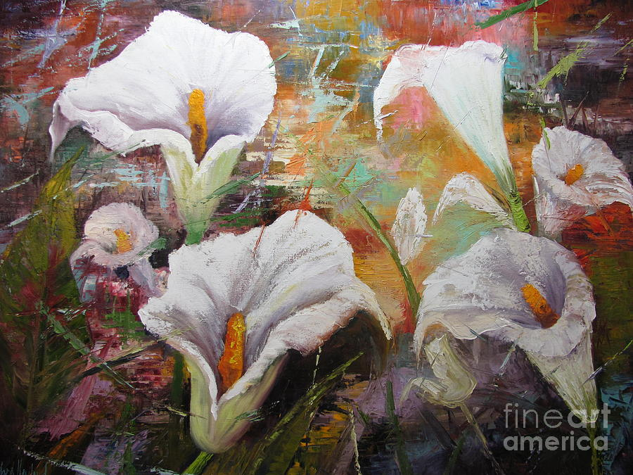 Abstract Painting - Abstract Fractured Calla Lilies by Barbara Haviland