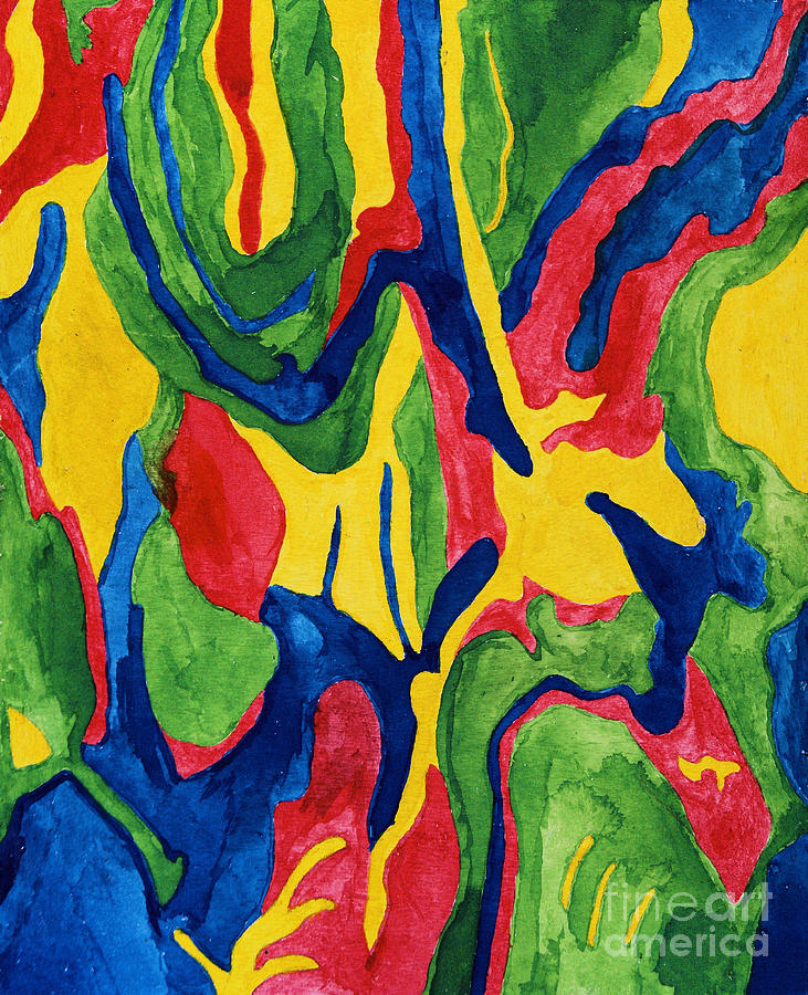 abstract from tree bark in primary colours painting by amy nelson