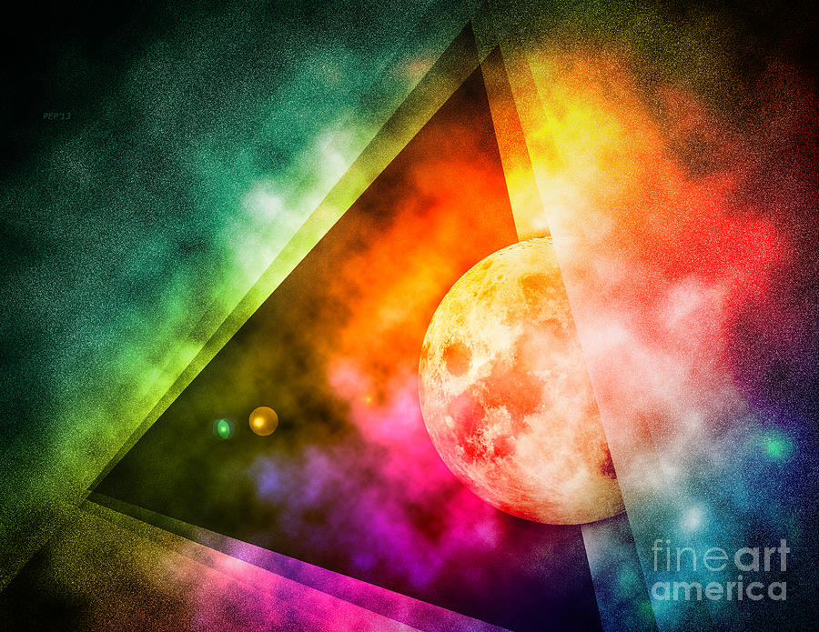 Abstract Digital Art - Abstract Full Moon Spectrum by Phil Perkins