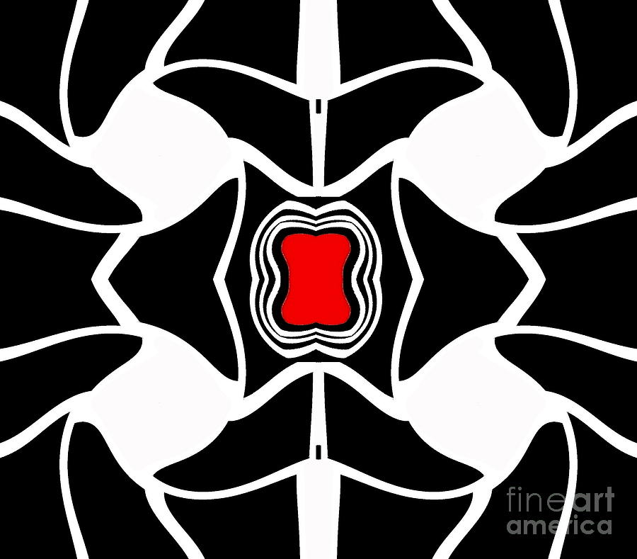Minimalism Digital Art - Abstract Geometric Black White Red Art No.381. by Drinka Mercep