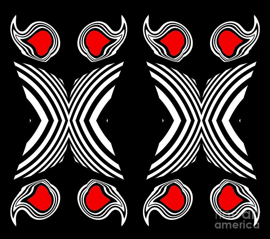Abstract Artwork Digital Art - Abstract Geometric Black White Red Op Art No.385. by Drinka Mercep
