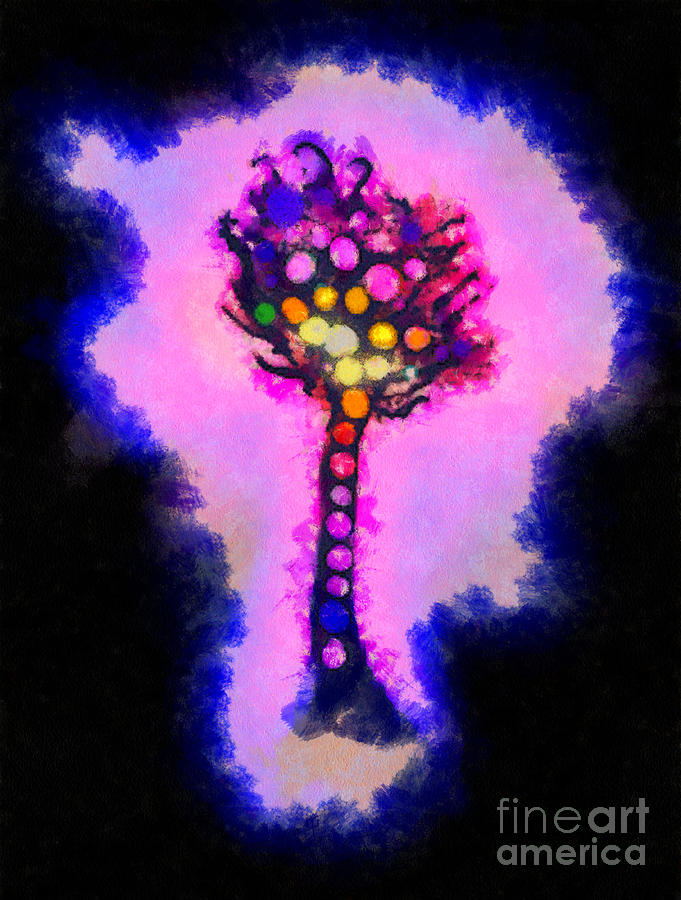 Fantasy Painting - Abstract Glowball Tree by Pixel Chimp