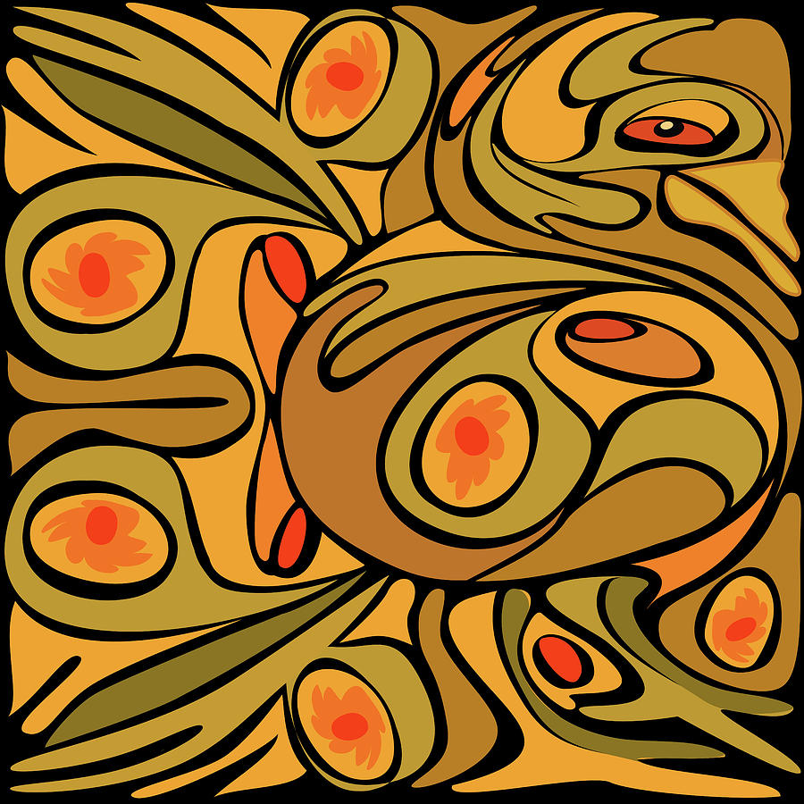 Abstract Golden Color Rooster Pattern Photograph by Charles Harker