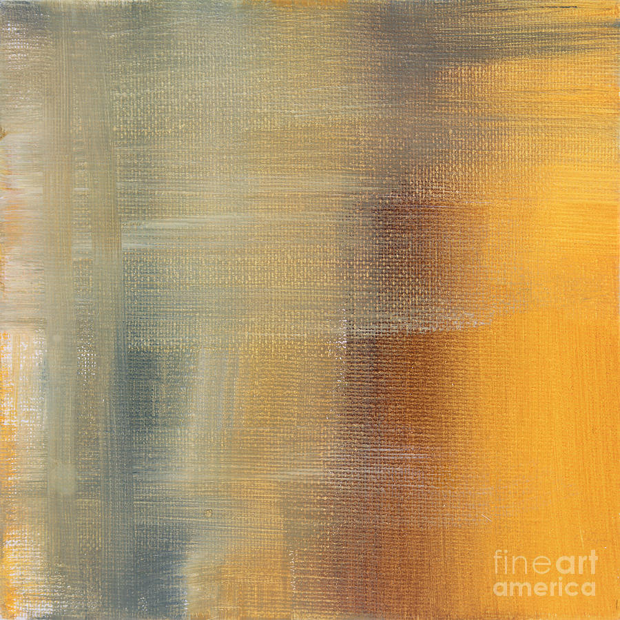 Abstract Painting - Abstract Golden Yellow Gray Contemporary Trendy Painting Fluid Gold Abstract I By Madart Studios by Megan Duncanson