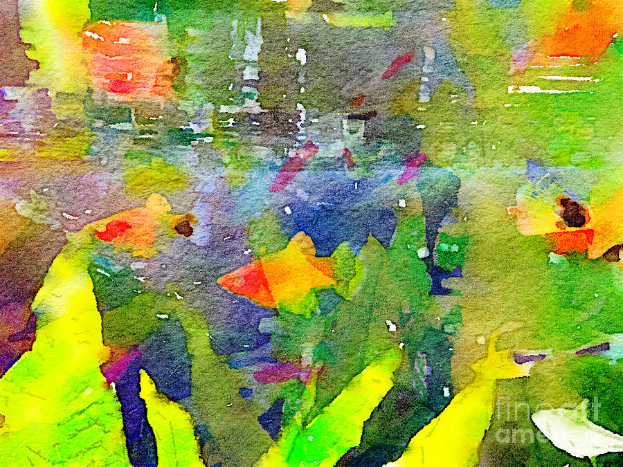 Abstract Painting - Abstract Goldfish Fish Bowl Aquarium Watercolor 2 by Beverly Claire Kaiya