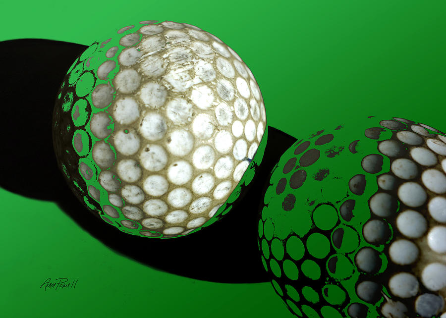 Abstract Golf Balls In Green Photograph by Ann Powell