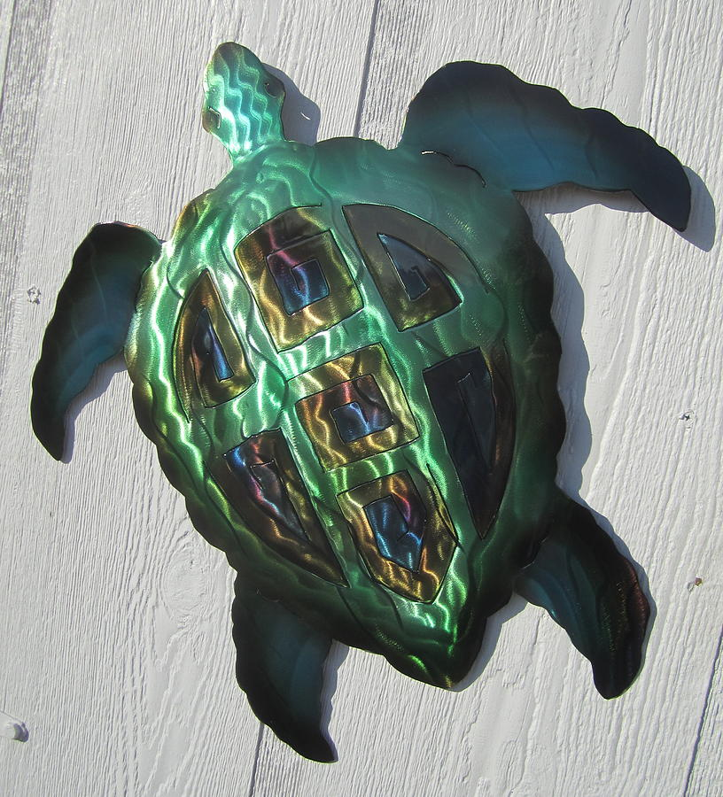 Abstract Green Sea Turtle Metal Sculpture Sculpture By