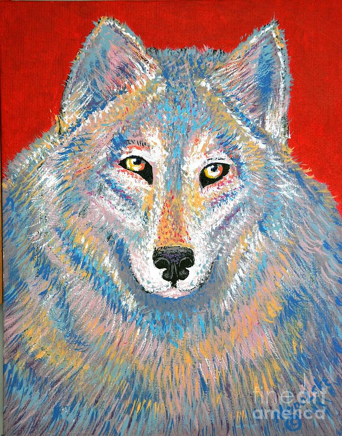 Abstract Grey Wolf by Barney Napolske