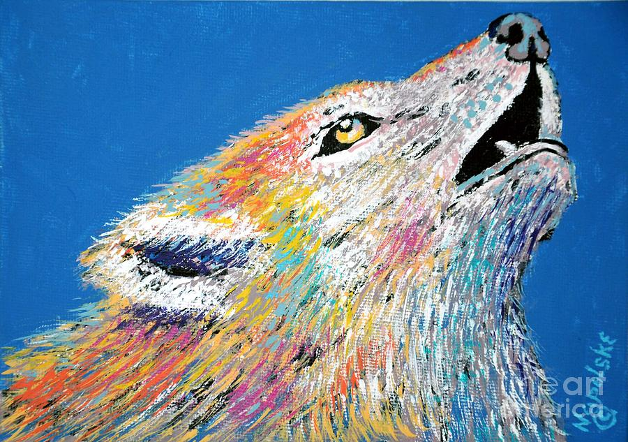 Abstract Howling Wolf by Barney Napolske