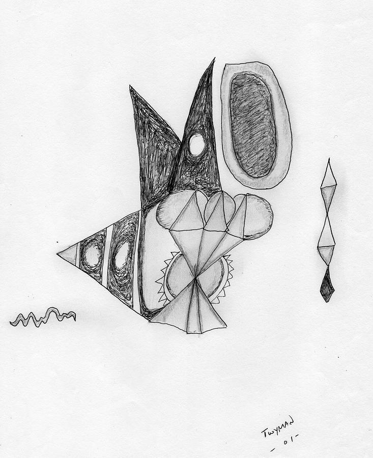 Pencil Sketch Drawing - Abstract In Pencil by Dan Twyman