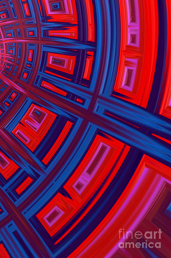 Mesh Digital Art - Abstract In Red And Blue by John Edwards
