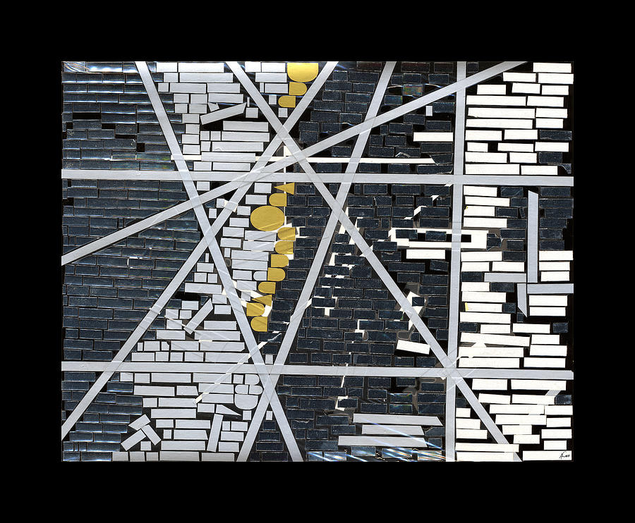 Abstract Mixed Media - Abstract In Tape And Letterforms 5 by Agustin Goba