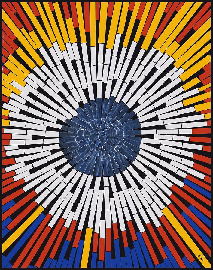 Star Mixed Media - Abstract In Tape - Starburst by Agustin Goba