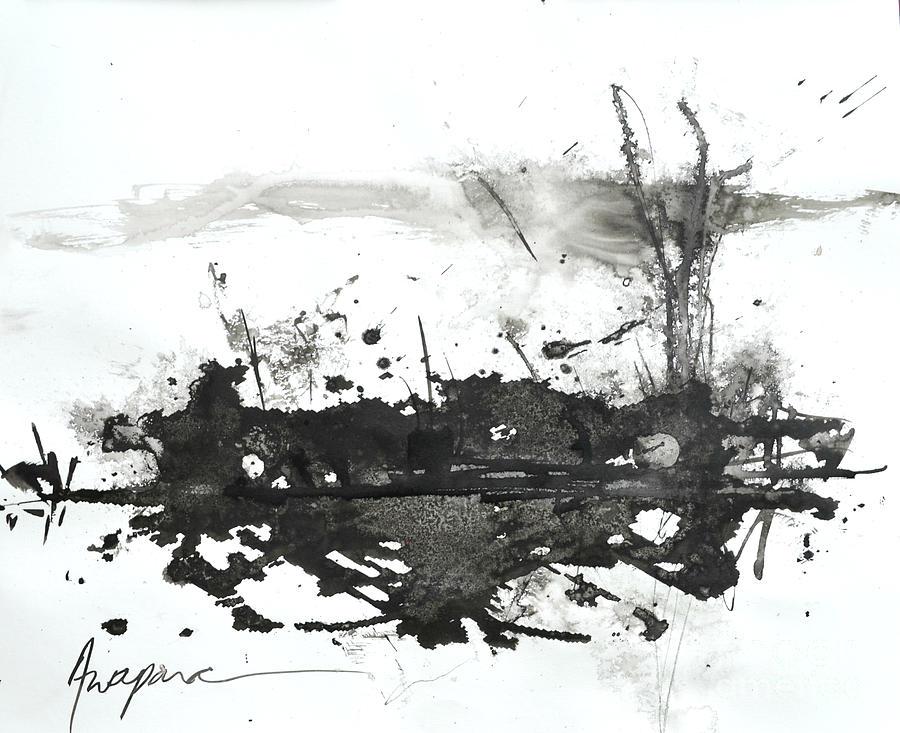 Modern Abstract Black Ink Art