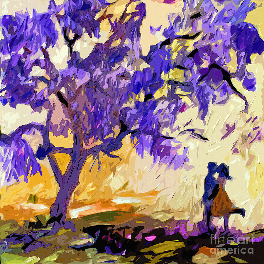 Abstract Painting - Abstract Jacaranda Tree Lovers by Ginette Callaway
