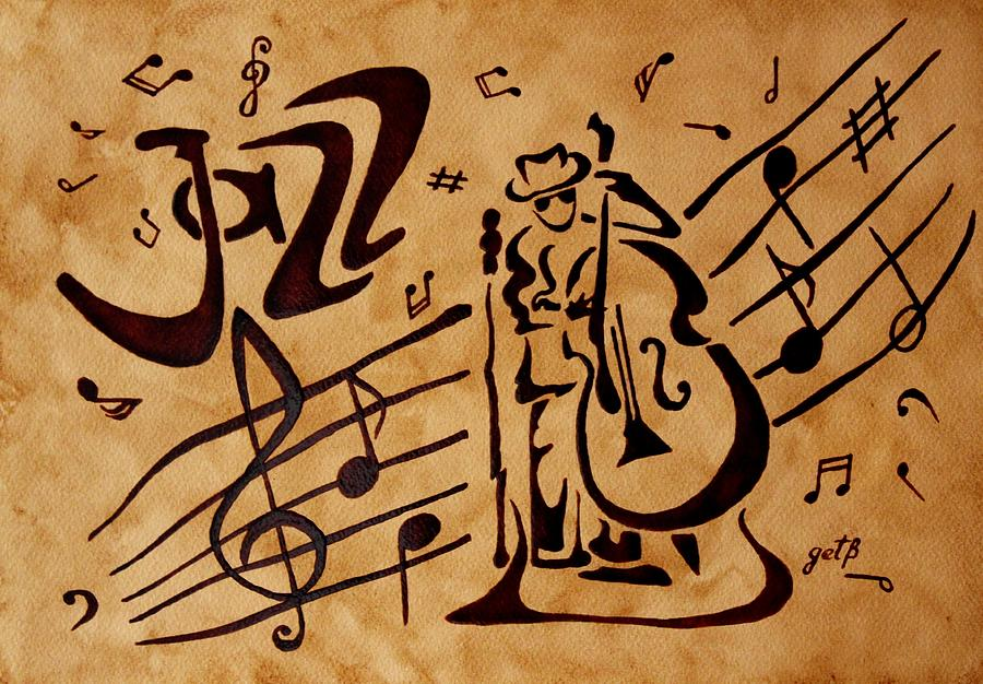 Abstract Jazz Music Coffee Painting Painting by Georgeta  Blanaru
