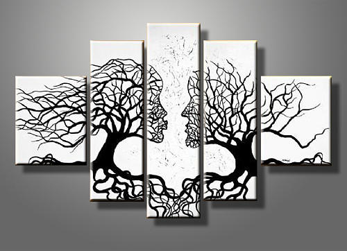 Abstract Kiss Tree Canvas Gallery Wrap Wall Art Set Painting By Summer Chen