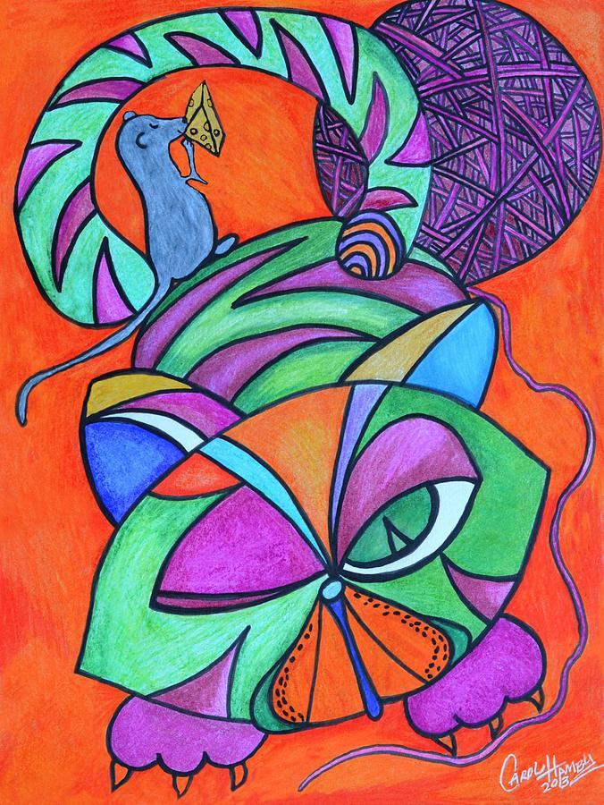 Orange Drawing - Abstract Kitty Galore by Carol Hamby