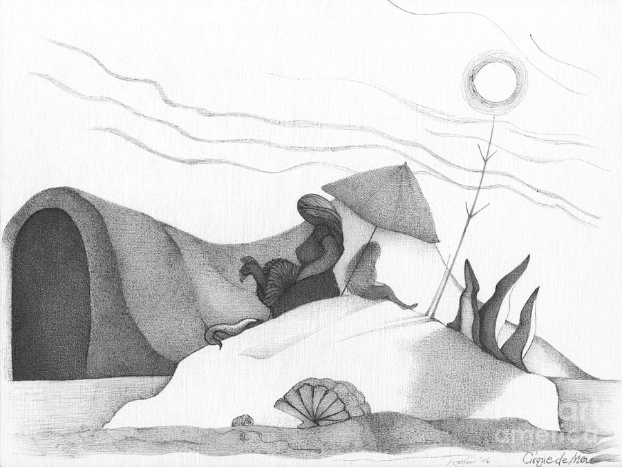 Beach Drawing - Abstract Landscape Art Black And White Beach Cirque De Mor By Romi by Megan Duncanson