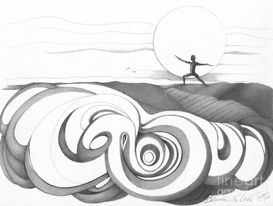 Swirl drawing abstract landscape art black and white yoga zen pose between the lines by