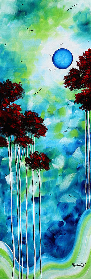 Abstract Painting - Abstract Landscape Art Original Tree And Moon Painting Blue Moon By Madart by Megan Duncanson