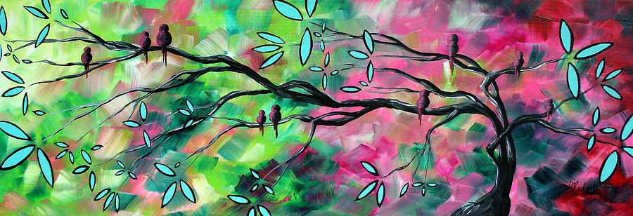 Abstract Painting - Abstract Landscape Bird And Blossoms Original Painting Birds Delight By Madart by Megan Duncanson