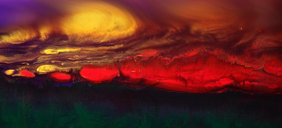 Sunset Painting - Abstract Landscape Fluid Art Dancing Sunset By Kredart  by Serg Wiaderny