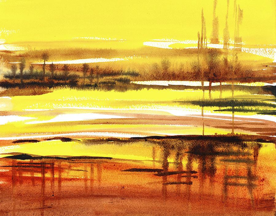 Abstract Painting - Abstract Landscape Reflections I by Irina Sztukowski