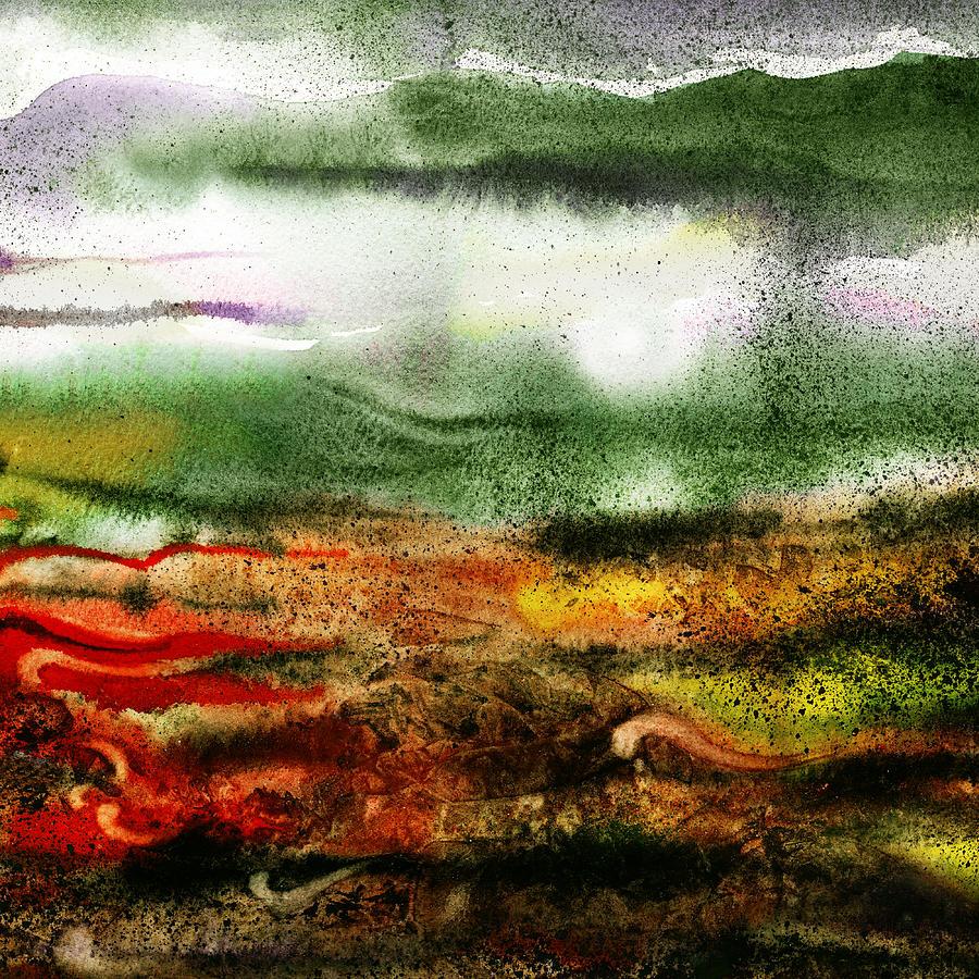 Abstract Painting - Abstract Landscape Sunrise Sunset by Irina Sztukowski