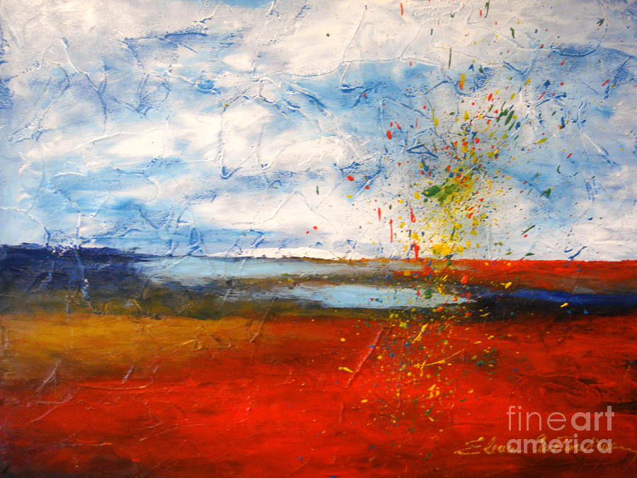 Landscape Painting - Abstract Lanscape by Elena  Constantinescu